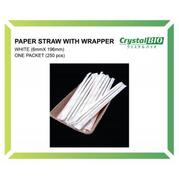 6mm Paper Straw with wrapper (White) 250 pcs/pkt