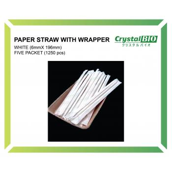 6mm Paper Straw with wrapper (White) 250 pcs x 5 pkt