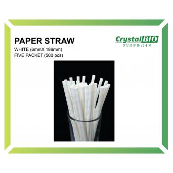 6mm Paper Straw (White) 100 pcs x 5 pkt